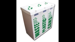 VictoryStore 3-in-1 36.5 Gallon Recycle Bin Set - Waste/Plastic/Cans - Glass/Plastic/Cans