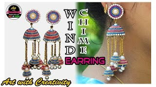 Wind Chime Jhumka | Quilling paper Earring | DIY | Art with Creativity 190