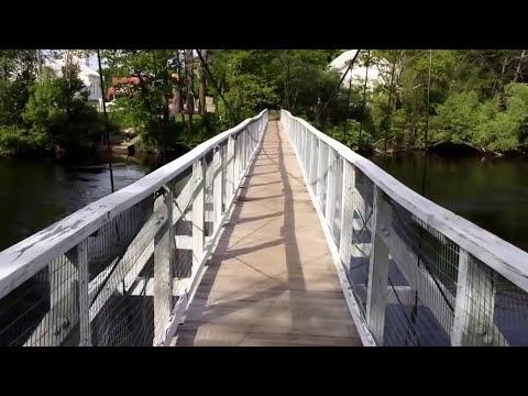 Walking the foot-bridge over the Kennebec River in Skowhegan, Maine