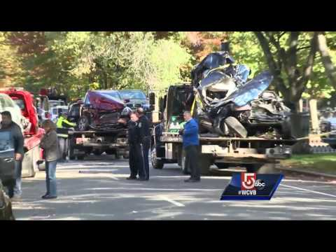 Slew of cars damaged after fire truck, SUV crash in Back Bay