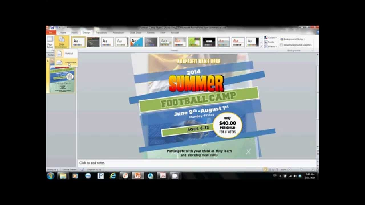 how to create a flyer using microsoft power point youtube