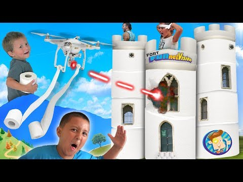 Toilet Paper Fort DRONE! 2 Story FUNnel Fam Challenge Mess