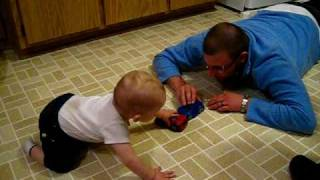 Devin And His Daddy Playing With Cars
