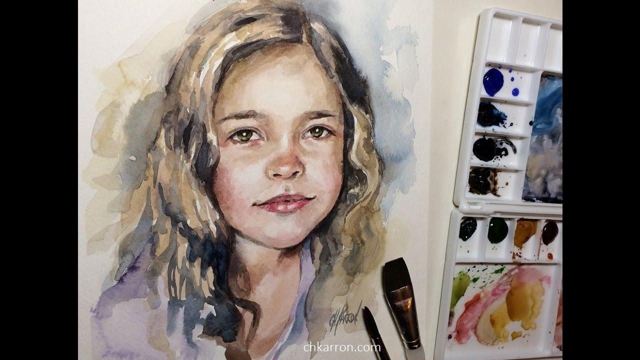 Artist Watercolor Portrait Painting