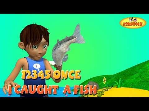 12345 Once I Caught A Fish A!  3D Nursery Rhymes with Lyrics  The Numbers Song