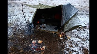 winter camping 河原で焚き火料理 米軍テントでソロキャンプ