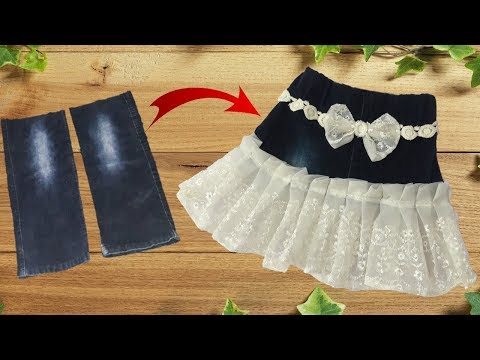 Diy Designer Skirt making from jeans // best idea of jeans // by simple cutting