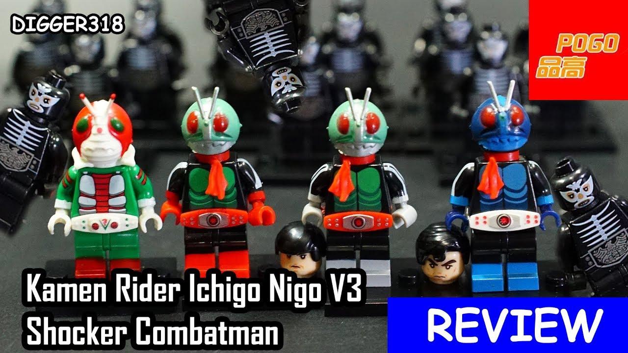 Lego Kamen Rider Pogo Bootleg PG8101 Ichigo Nigo V3 Shocker Combatman  Review 4K