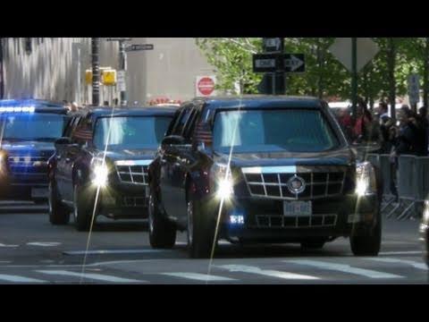 Motorcade of President Obama with Secret Service Suburbans Leaving ...