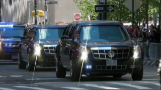 Motorcade of President Obama with Secret Service Suburbans Leaving the World Trade Center New York