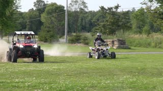 Louies first ride on a Quad Racer!  And RZR 900 vs LTR450  PowerModz!