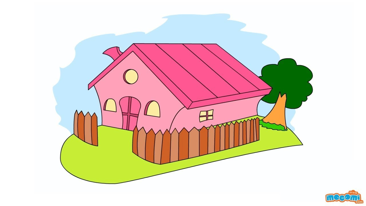 How to Draw a House | Step By Step Drawing for Kids | Educational ...
