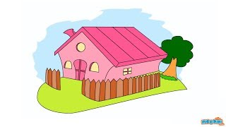 How to Draw a House - Learn Drawing Art & Colors for Kids | Kids Education by Mocomi Kids