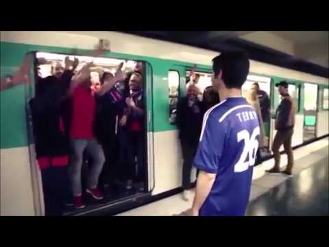 PSG fans stop Chelsea Supporter from boarding a train/subway