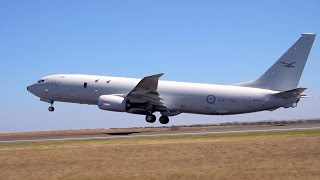 RAAF P-8A Poseidon and E-7A Wedgetail at the 2017 Avalon Airshow - flying and static footage.
