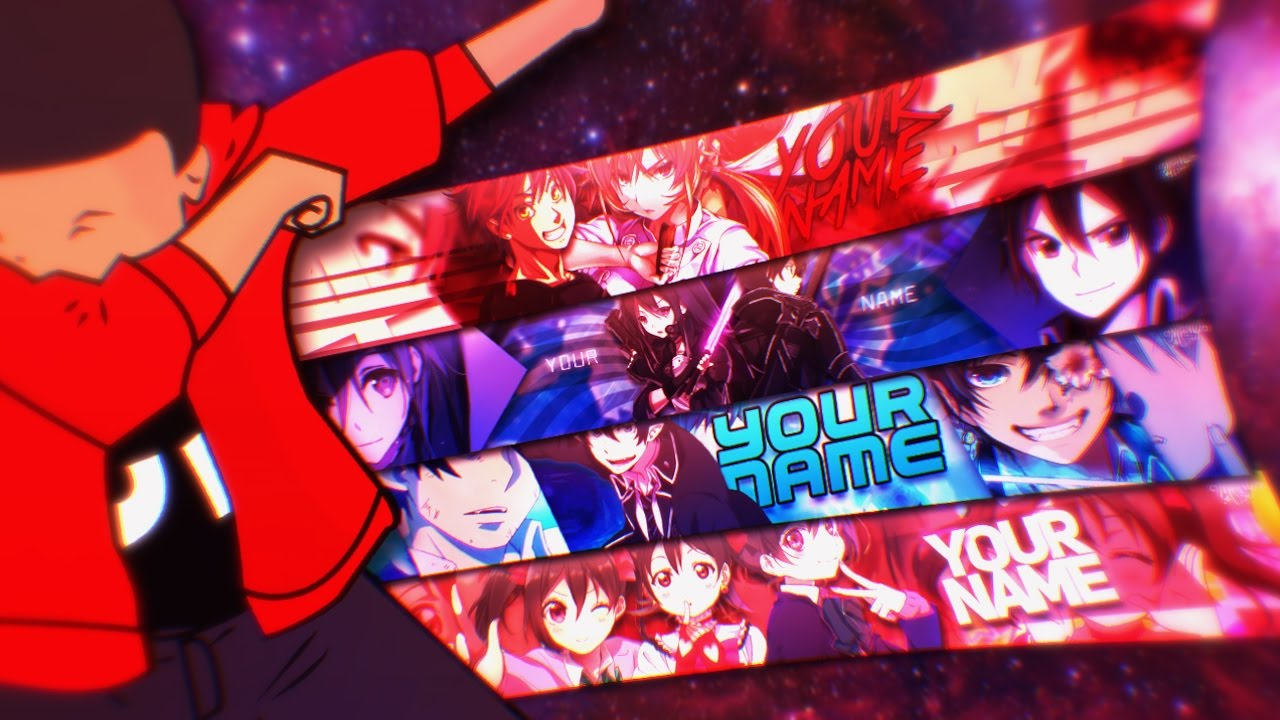 「free anime youtube banner template」4 banners manodnz youtube