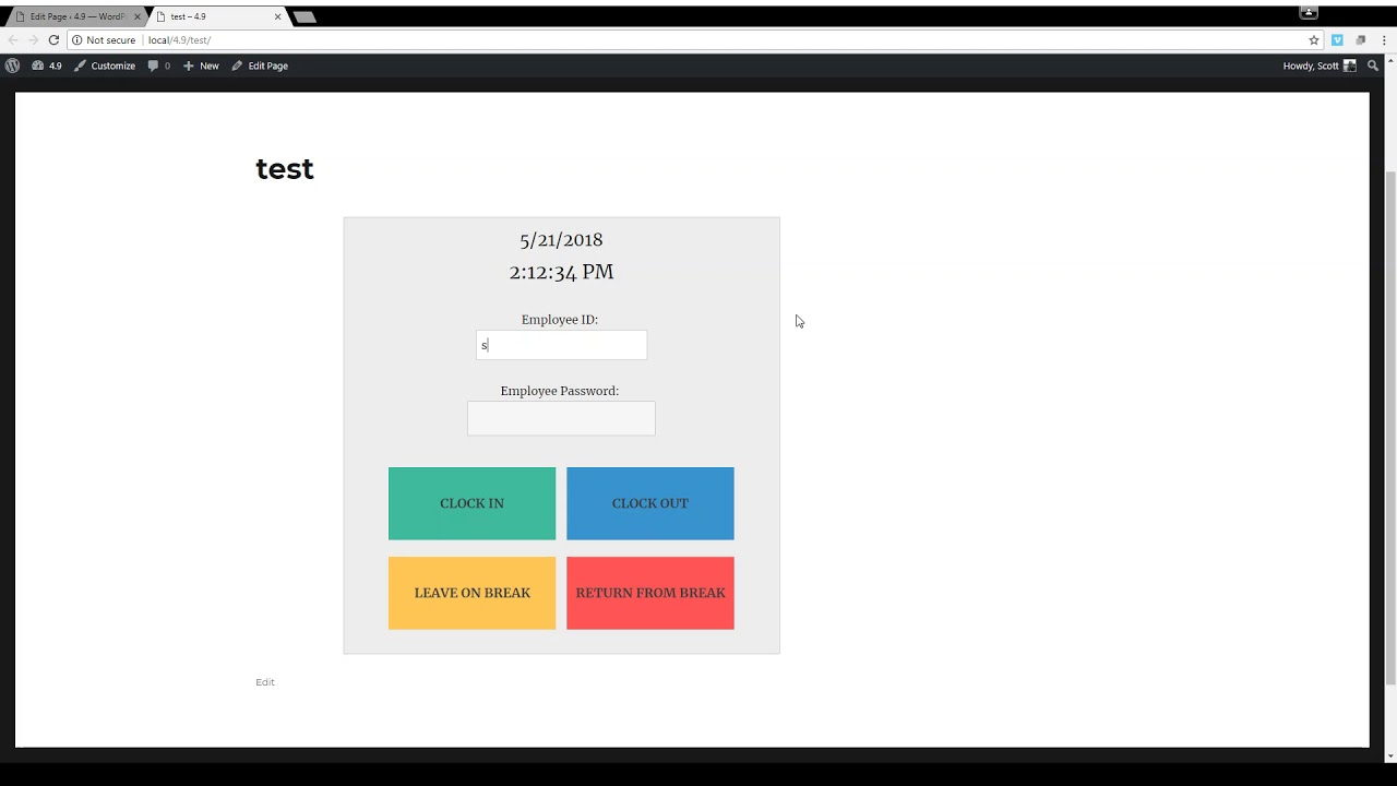 Time Clock – A WordPress Employee & Volunteer Time Clock