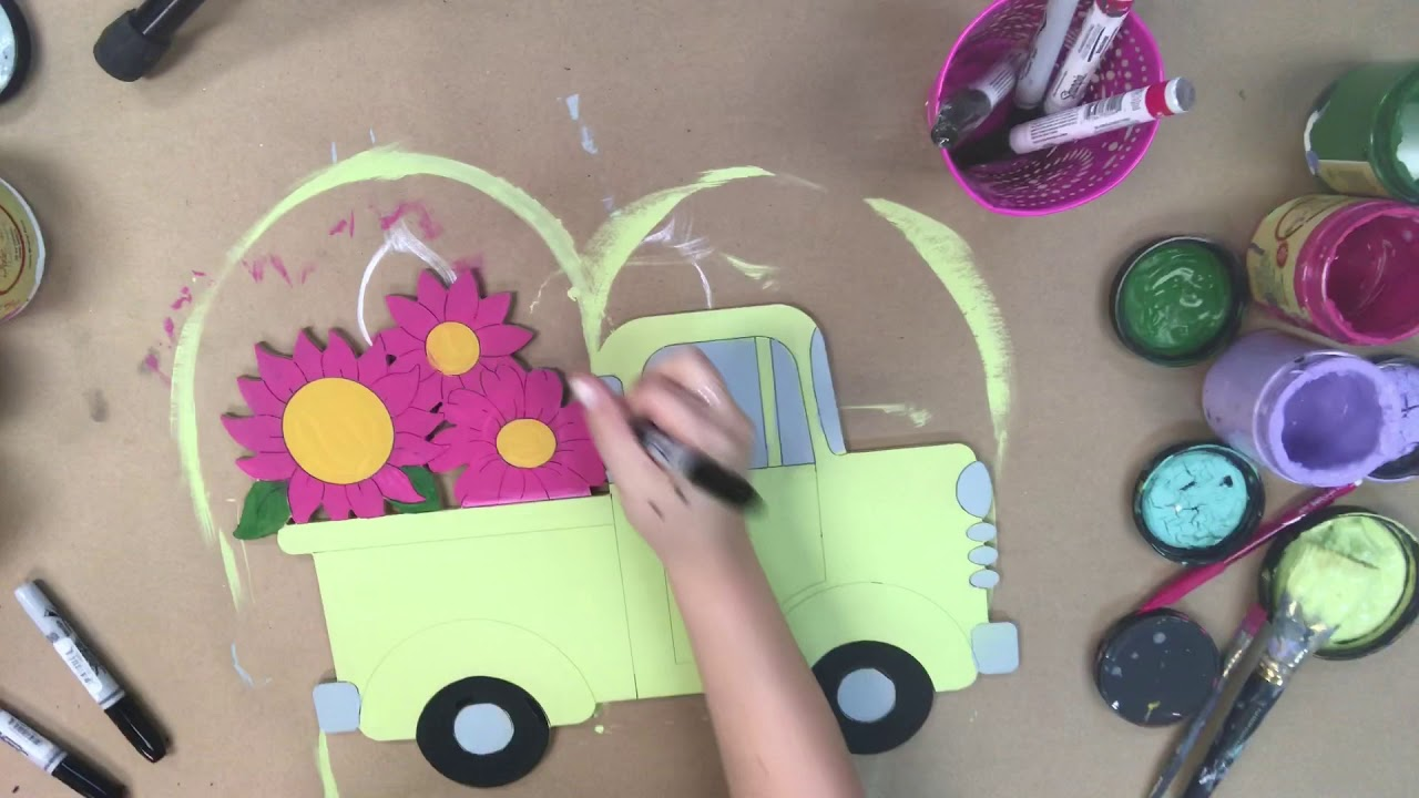 Old Style Truck with Sunflowers, Unfinished Craft, Paint by Line
