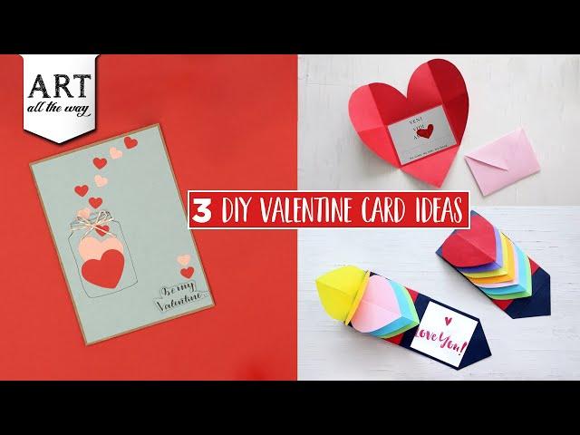 3 Easy DIY Valentine Card Ideas | Simple Valentine Card | DIY Greeting Card