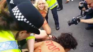 girls naked protest fmg tour france in london