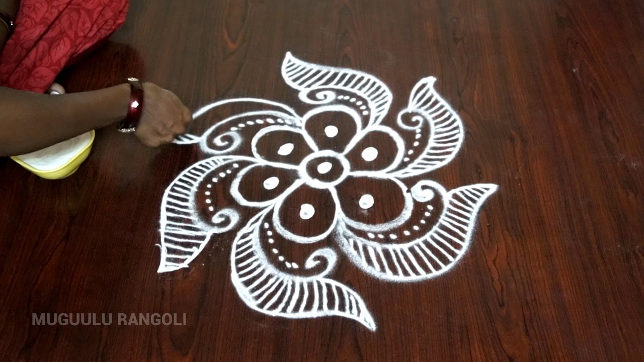 Simple and easy rangoli designs for home video homemade for Home made rangoli designs