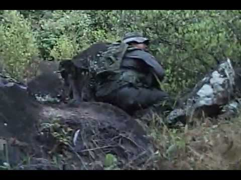 A running firefight between Colombian forces and narco-insurgents.