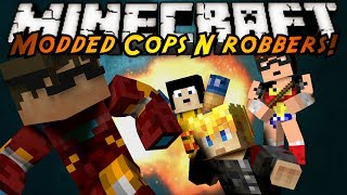 Minecraft Mini-Game : MODDED COPS N ROBBERS! SUPERHEROES!