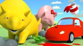 Ucz się kolorów malując auta - ucz się z Dino dinozaurem 👶 Bajki Edukacyjne dla Dzieci