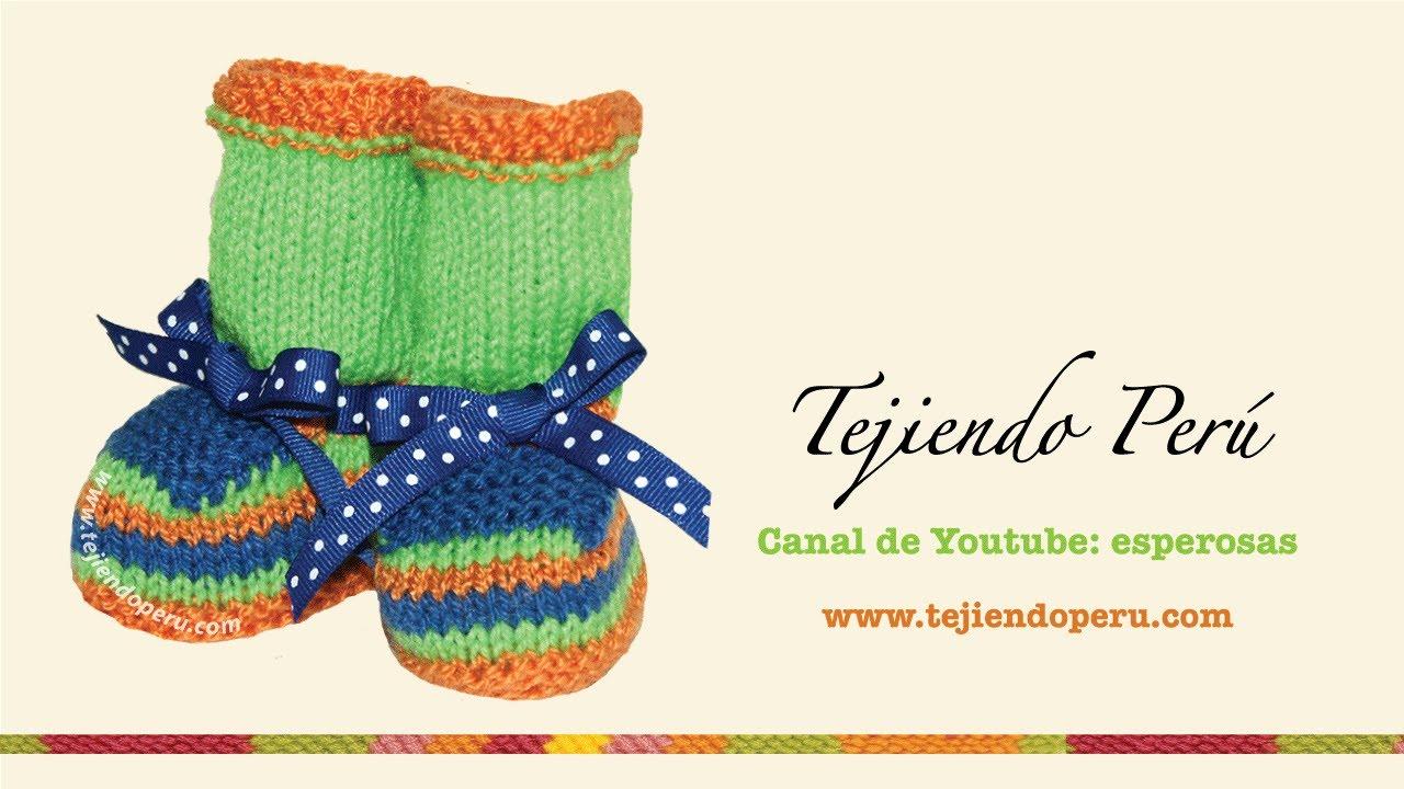 Zapatitos de colores para bebes tejidos en dos agujas o palitos ...