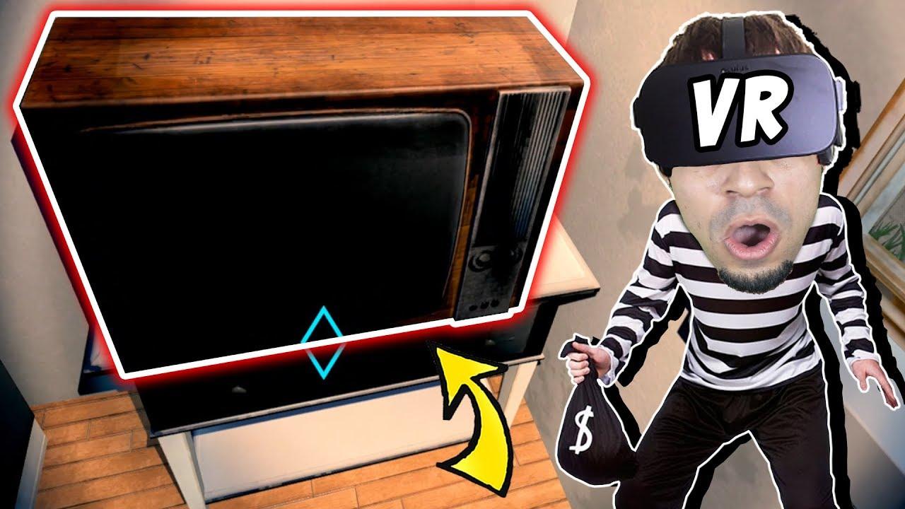 محاكي الحرامي بنظارة الواقع الافتراضي #1 : سرقت تلفزيون Thief Simulator VR !!