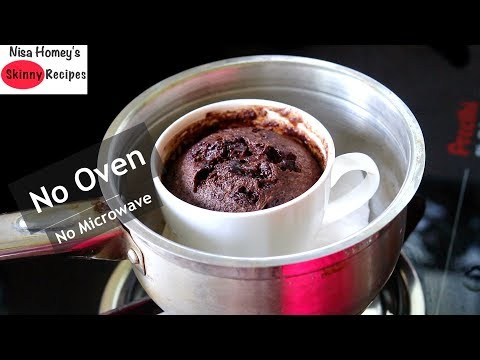 Low Carb, Almond Flour Chocolate Mug Cake Without Oven/Microwave - Healthy Gluten Free Recipes