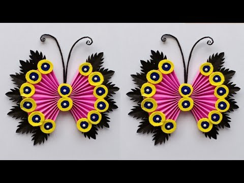 Paper Flower Wall Hanging // Wall Decoration Idea // Simple butterfly wall decoration
