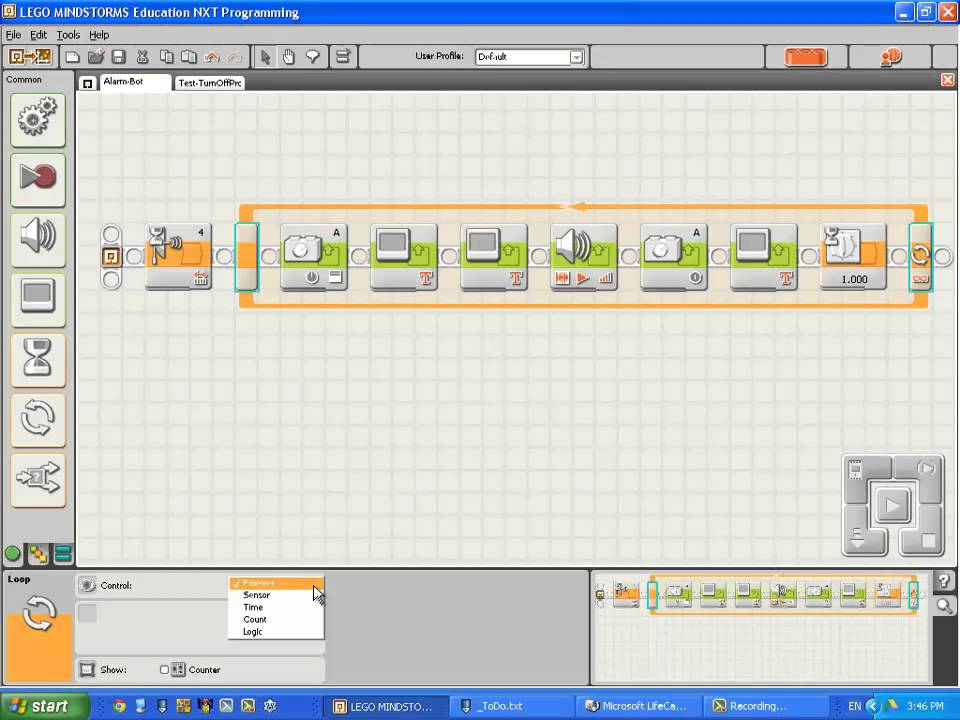 Club Engineer - Mindstorms NXT - Intro to NXT-G Programming - #12 - Stop  when stop button pressed