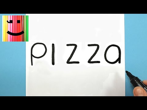 HOW TO DRAW A PIZZA - TURNING THE WORD PIZZA INTO A KAWAII PIZZA
