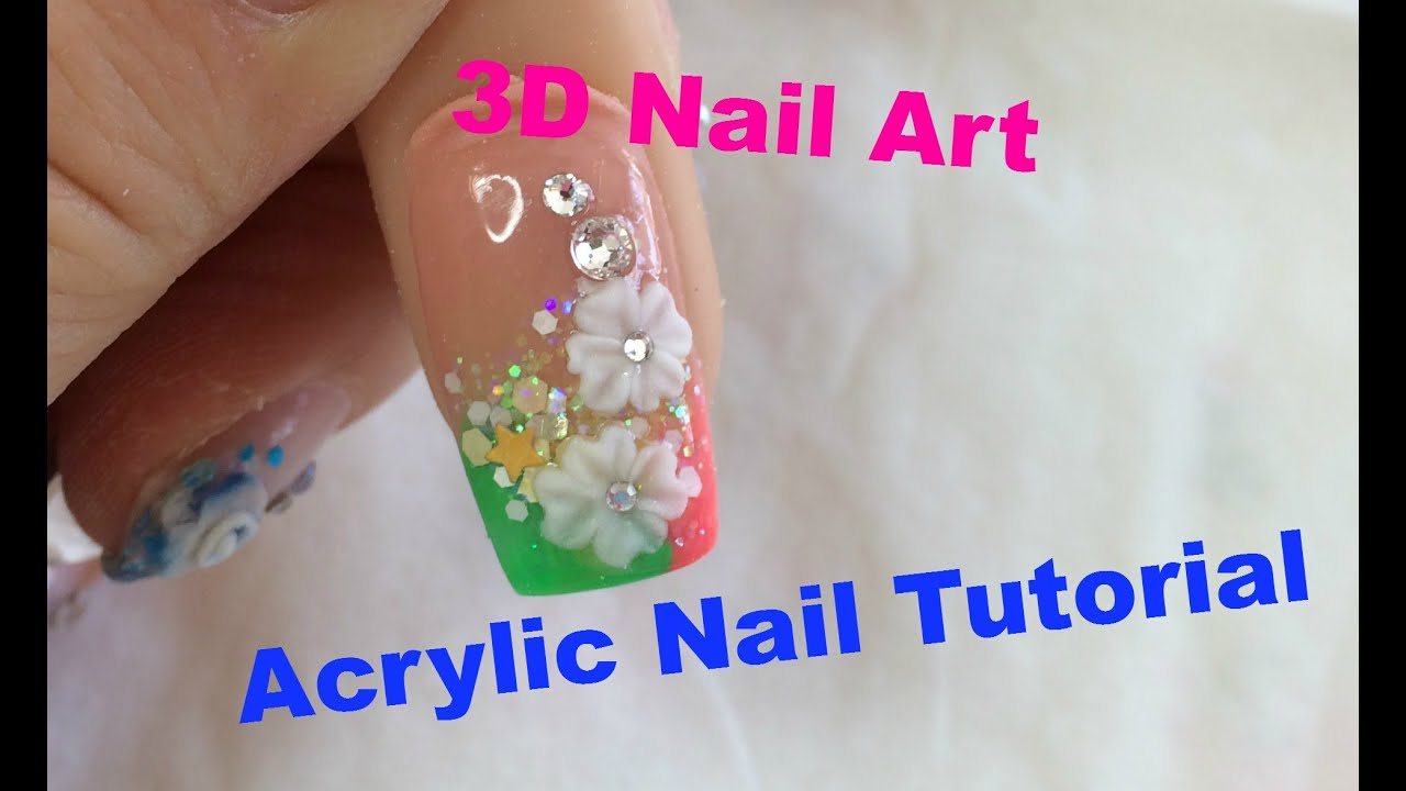 How To Do Acrylic Nails~~Fancy French Tip and Handmade 3D Nail ...