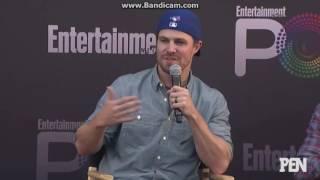Grant Gustin, Melissa Benoist, Caity Lotz and Stephen Amell EW PopFest Panel Part 1