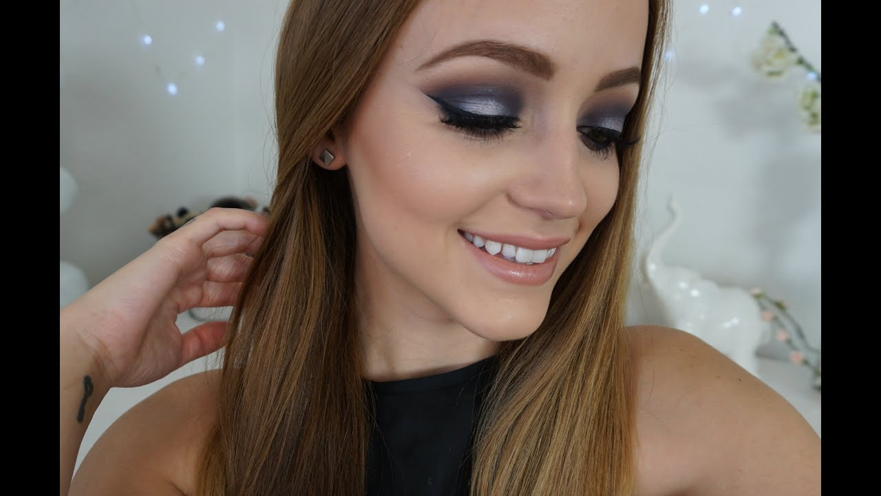 Navy Blue & Silver Smokey Eye  Makeup Tutorial