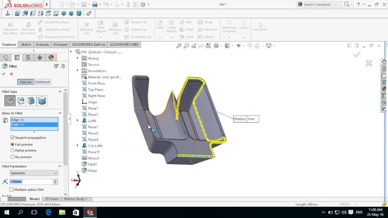 SolidWorks Basics Pelton Wheel Bucket Design 5