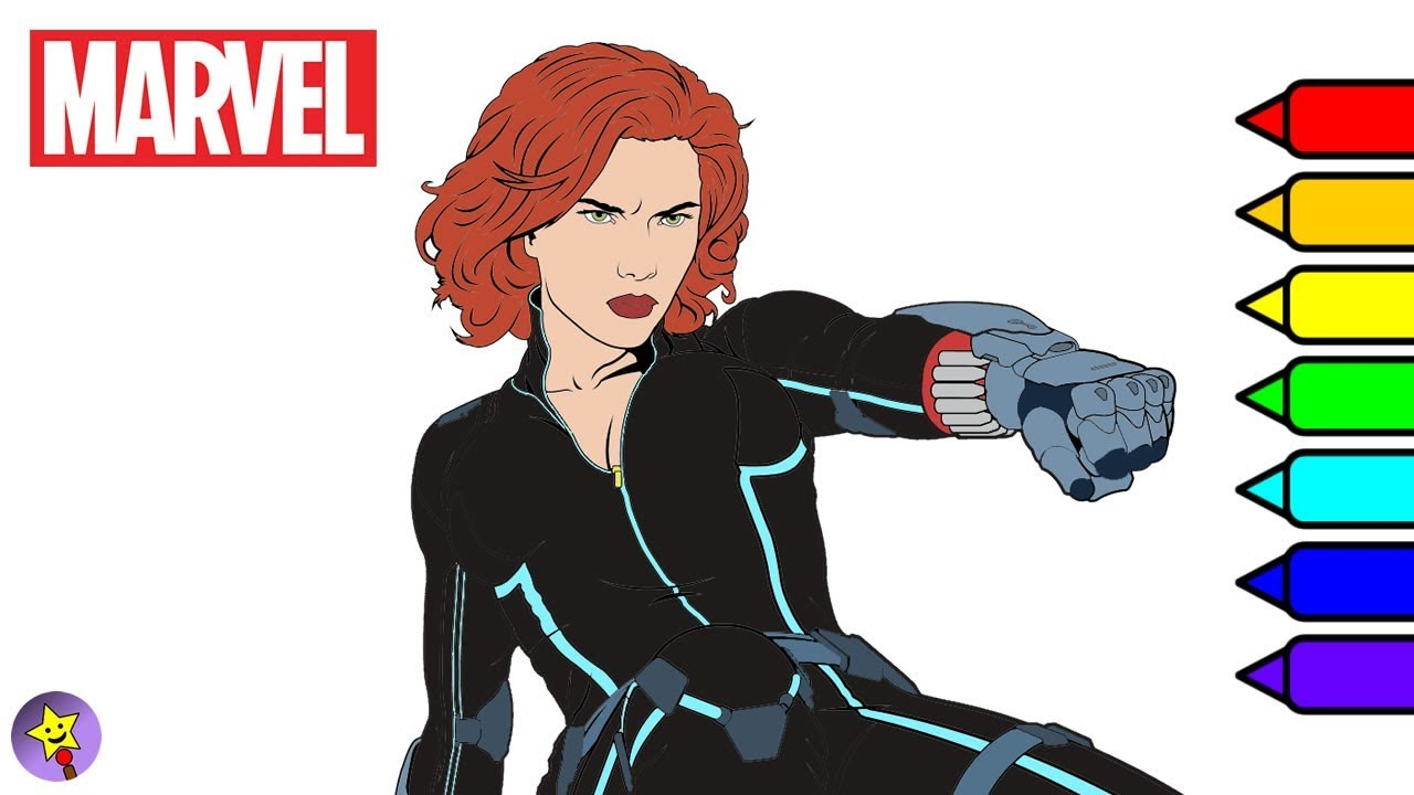 Marvel Avengers Coloring Book Black Widow Coloring Page YouTube