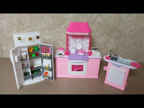 Unboxing barbie Kitchen Set by gloria - Barbie Size Dollhouse Furniture - Mini Doll Kitchen