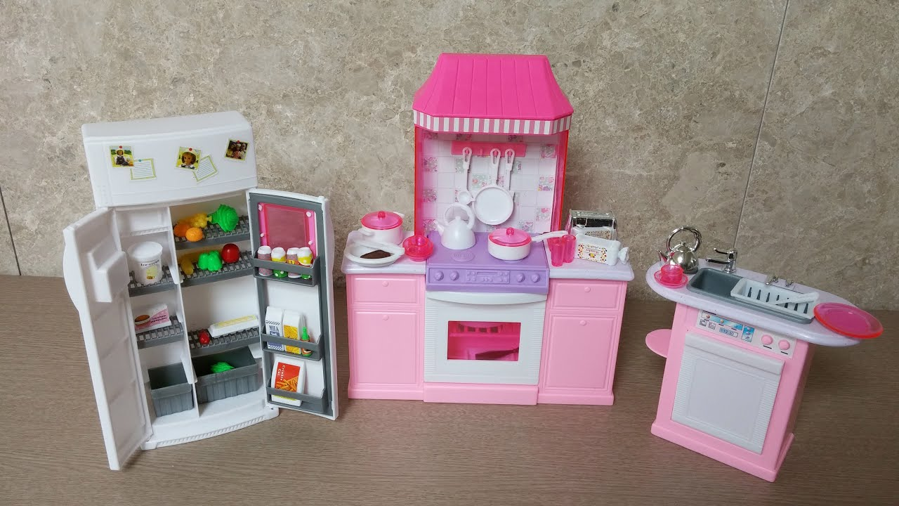 Beau Unboxing Barbie Kitchen Set By Gloria   Barbie Size Dollhouse Furniture    Mini Doll Kitchen   YouTube