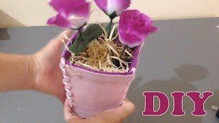 Como Fazer Vaso com Caixa de Leite – Artesanato DIY