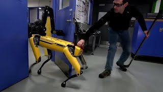 Human v robot dog: Boston Dynamics takes on its door-opening SpotMini