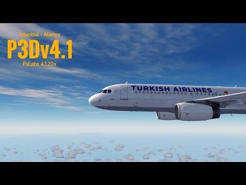 [P3Dv4.1] Istanbul (LTBA) - Alanya (LTFG) | FsLAbs A320x | TURKISH AIRLINES | VATSIM