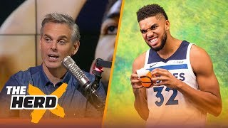 karl anthony towns voted no 1 player nba gms would start their team with colin reacts   the herd