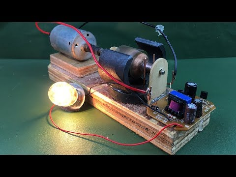 Electricity 2018 free energy self running machine generator light bulb 12V Using DC motor at home