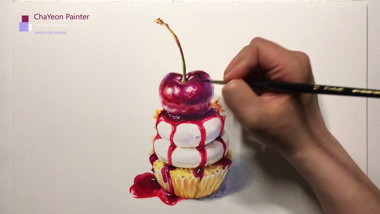 Watercolor Painting Cherry Pie Cupcakes | Still Life Watercolor | 정물 수채화, 체리 파이 컵케이크, 케이크 그리기