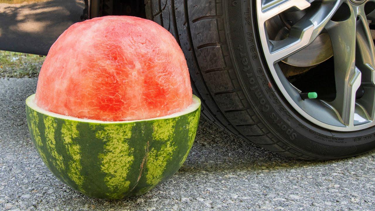 Crushing Crunchy & Soft Things by Car! EXPERIMENT CAR vs WATERMELON