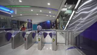 United Arab Emirates, Dubai, metro night ride from Qusais to Etisalat