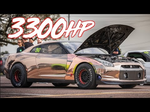 3300HP Nissan Goes 223mph - Worlds Most Powerful GTR's Fight For Gold!